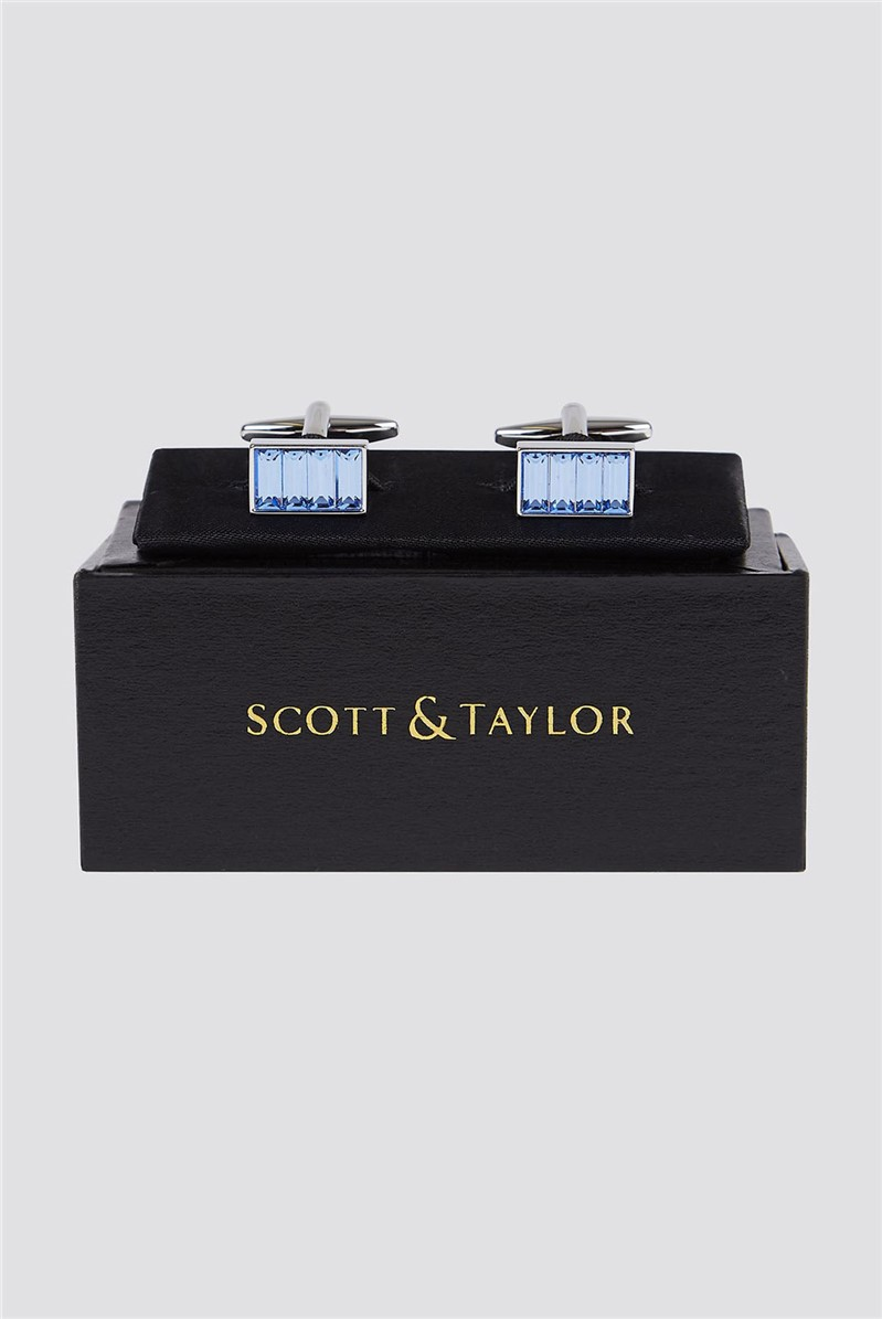 Scott & Taylor Blue Diamante Cufflinks