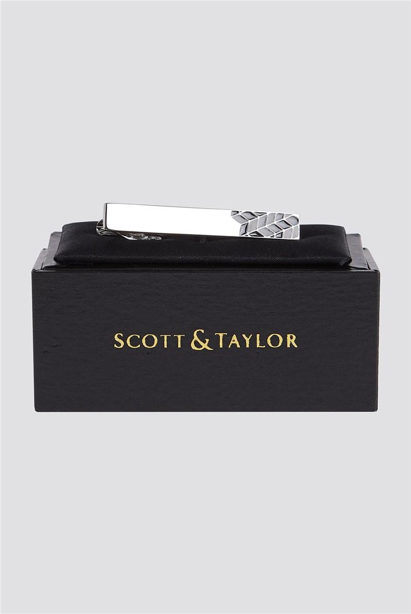 Silver Black Chevron Tie Bar
