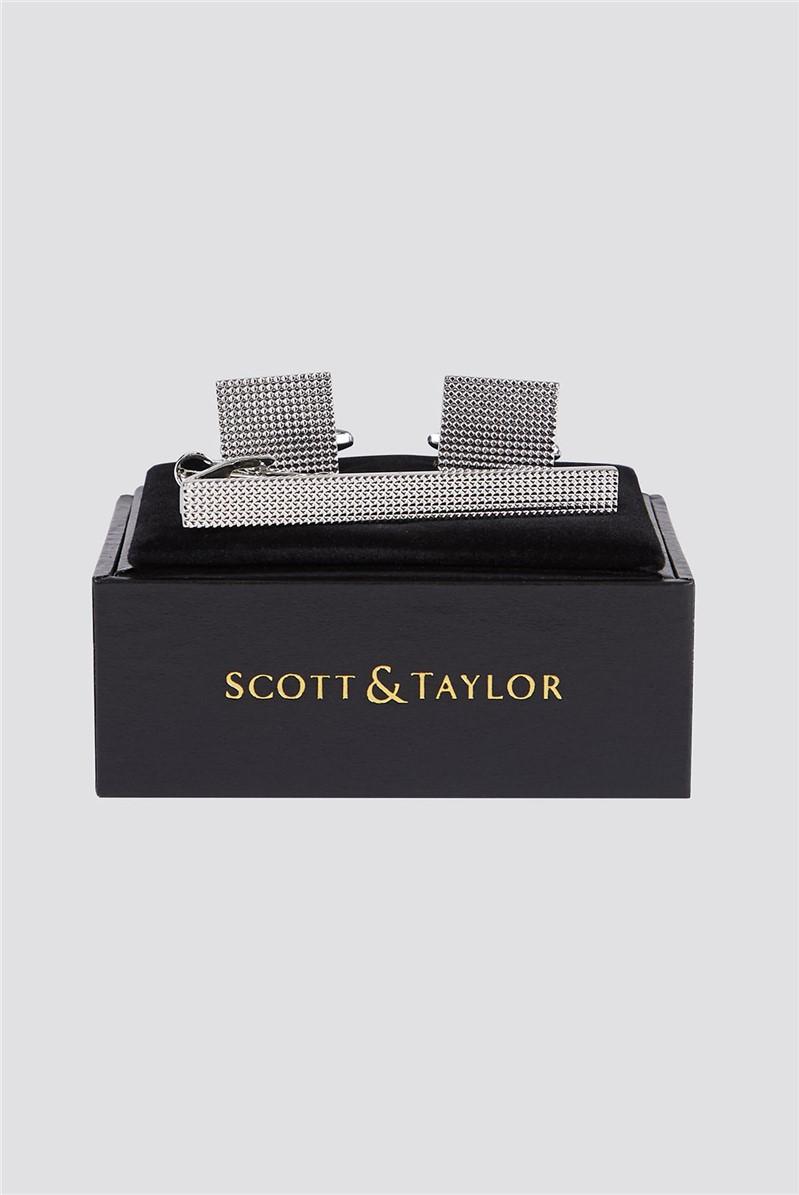 Silver Textured Cufflink & Tie Bar Set
