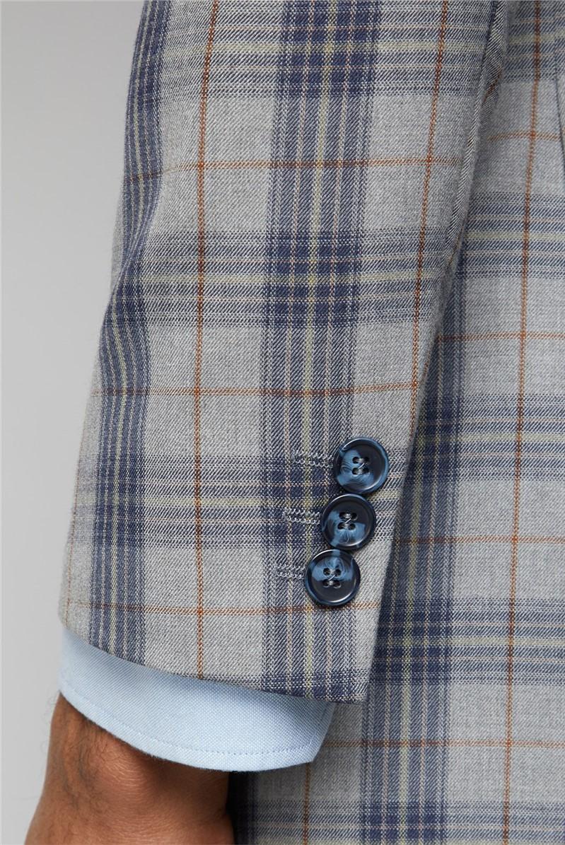 Grey Blue Check Slim Fit Suit Trousers