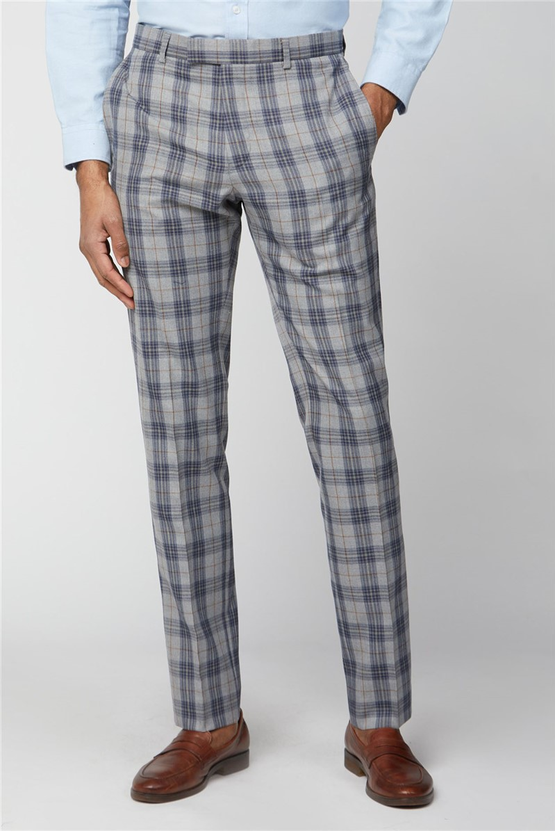 Grey Blue Check Slim Fit Suit Trousers