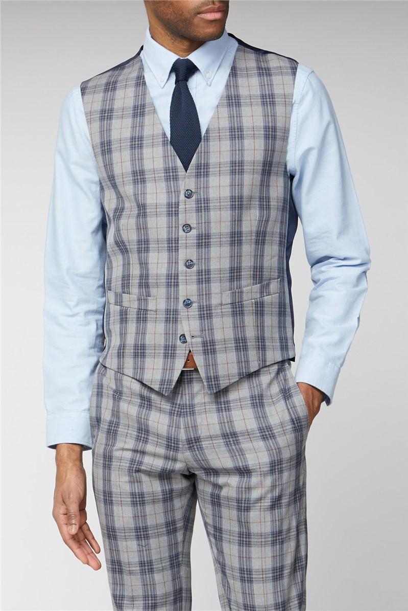 Grey Blue Check Waistcoat
