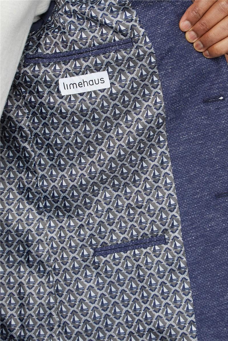 Navy Speckle Texture Slim Fit Suit Trousers