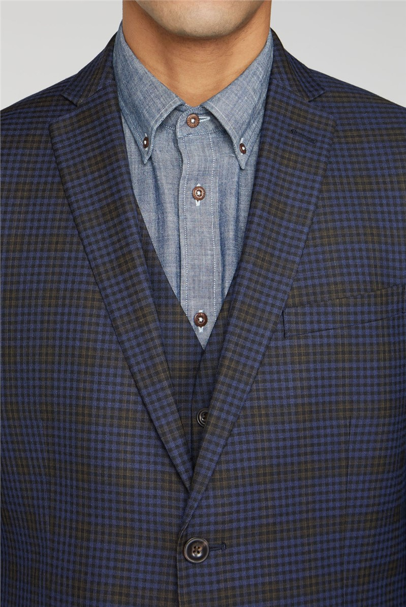 Blue & Mustard Shadow Check Tailored Fit Suit