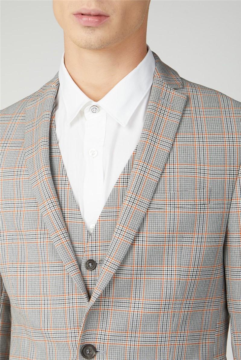 Grey Orange Prince of Wales Check Skinny Fit Suit