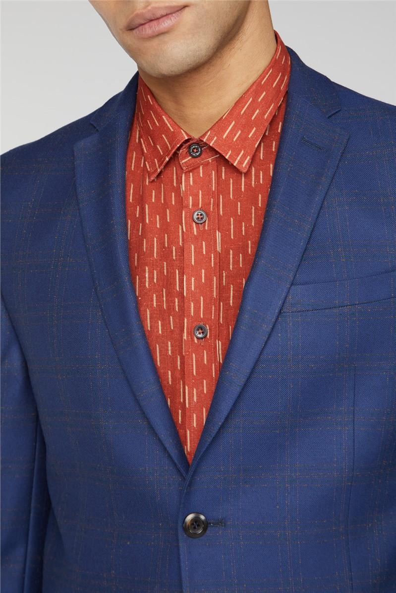 Blue Orange Check Slim Suit Trouser