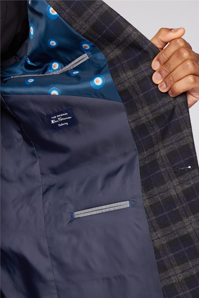Blue Black Brushed Check Slim Fit Suit Jacket
