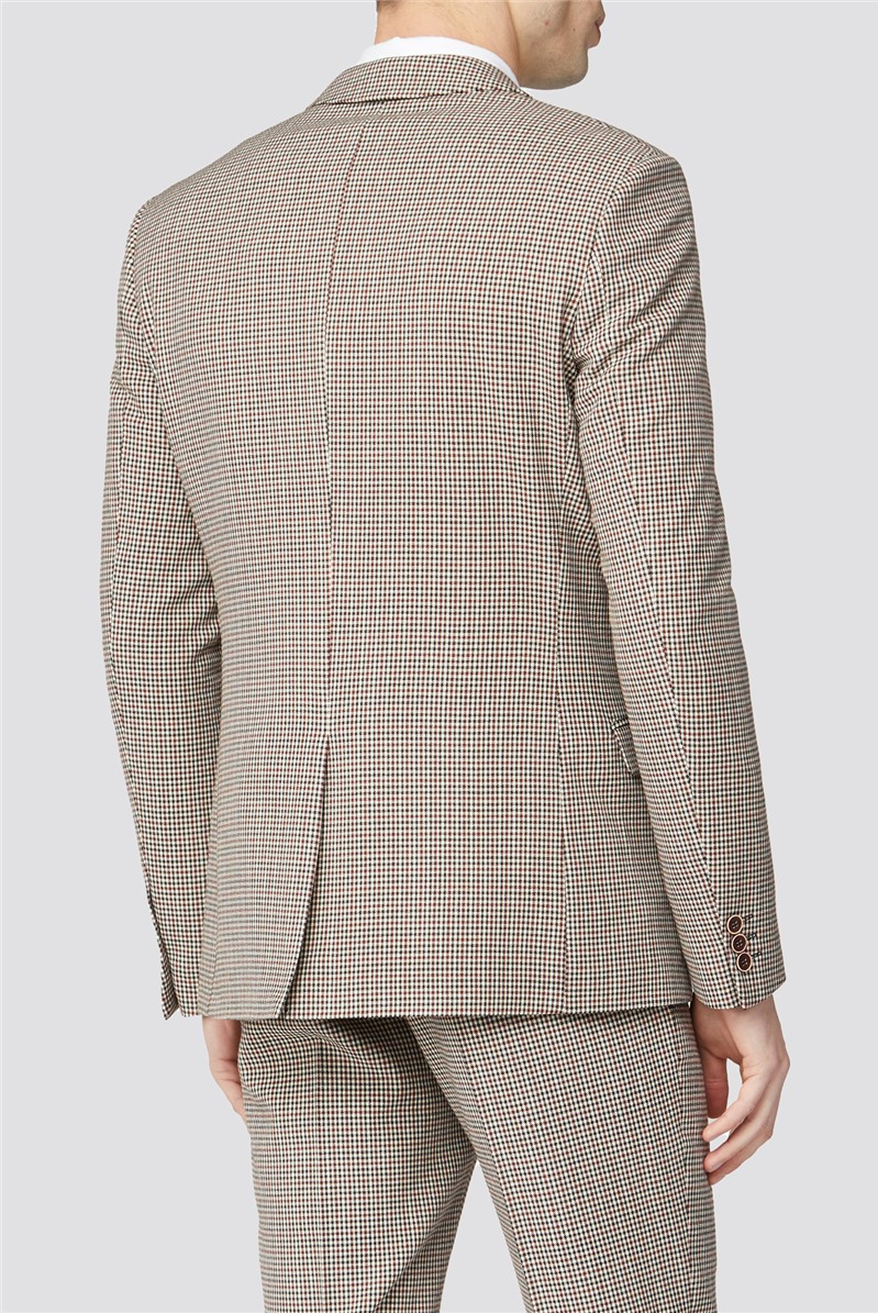 Red Black Puppytooth Slim Suit Trousers