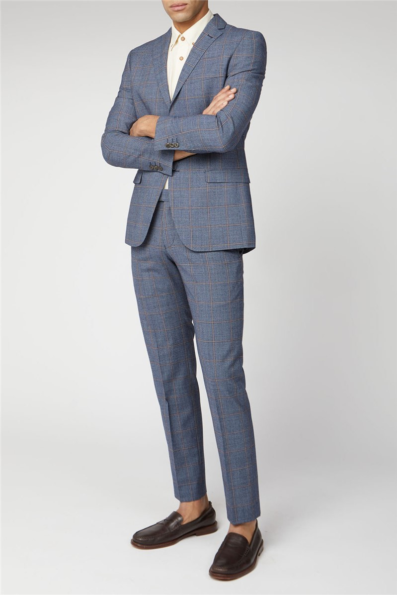 Blue Rust Windowpane Check Tailored Fit Suit Trouser