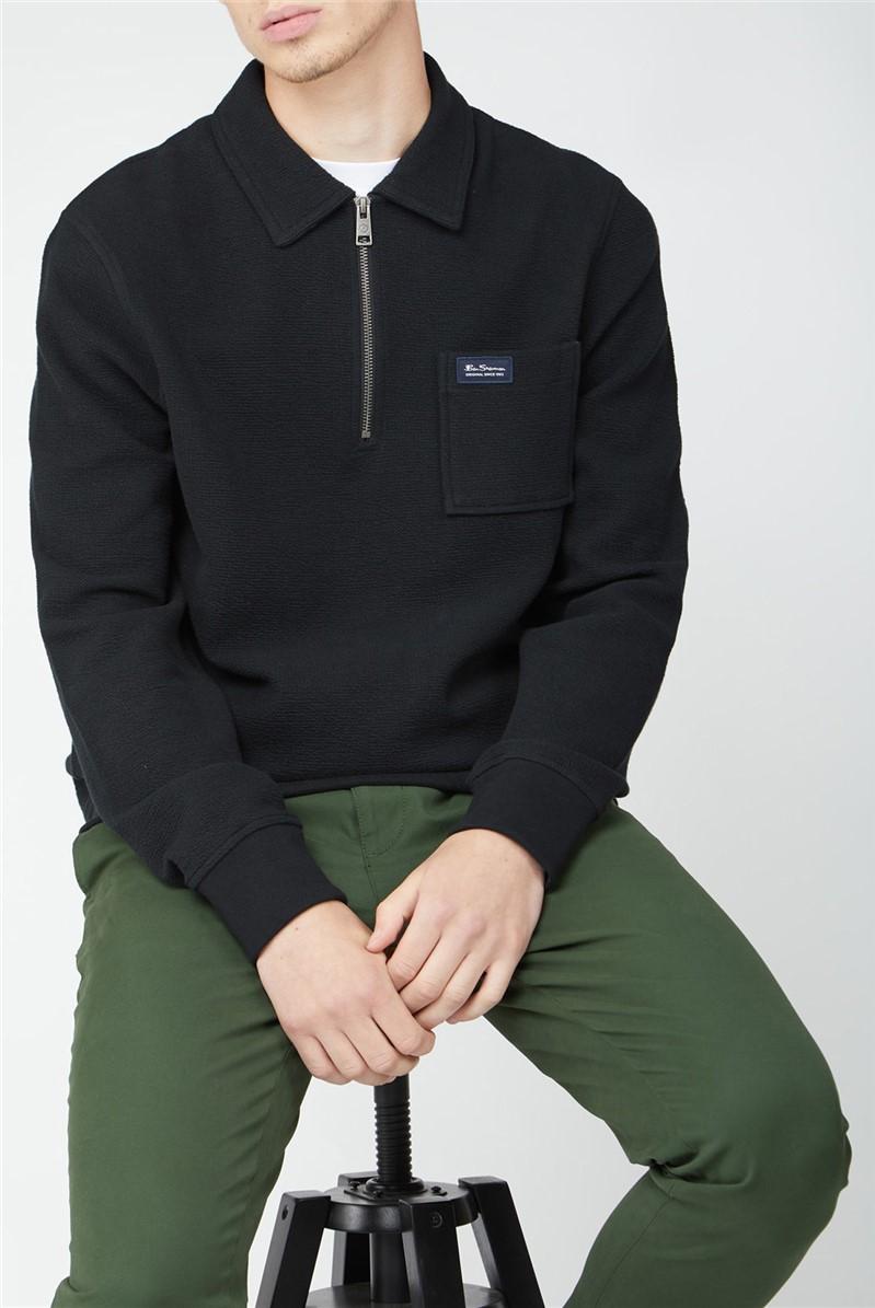 Fabric Interest Zip Neck Sweatshirt