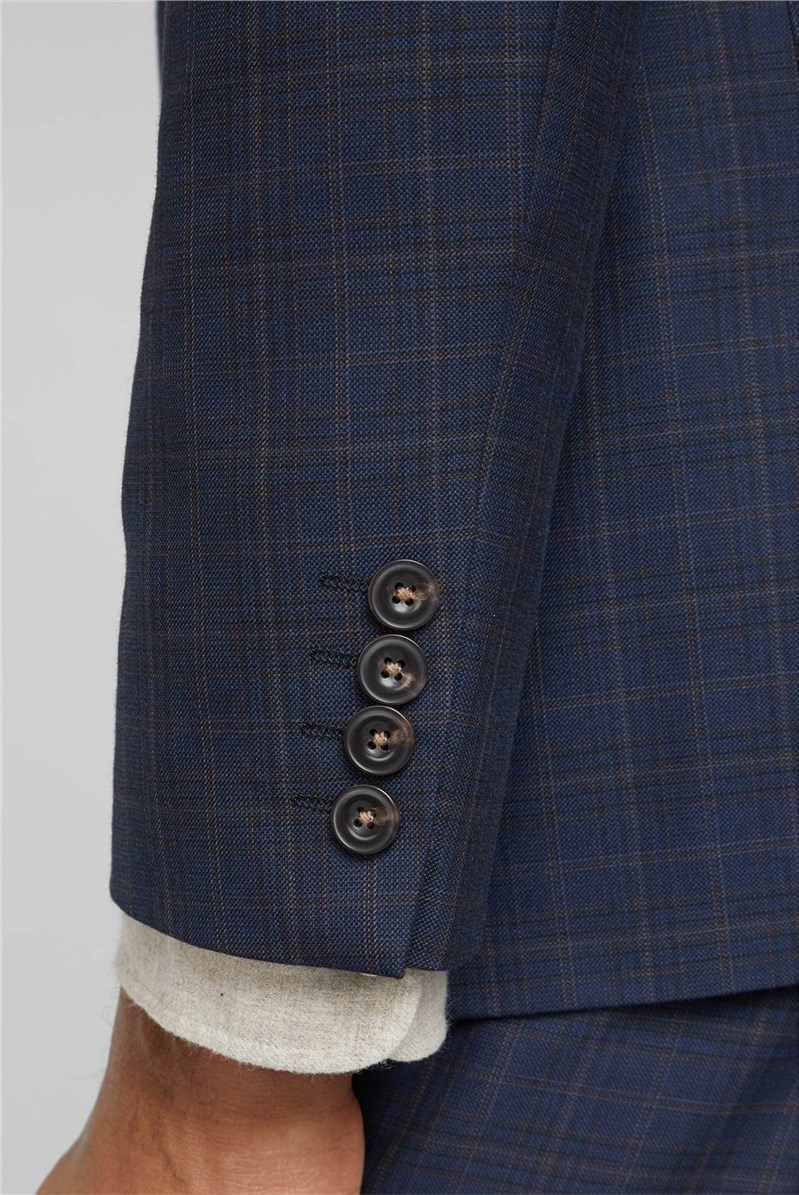 Navy Blue & Caramel Checked Slim Fit Waistcoat