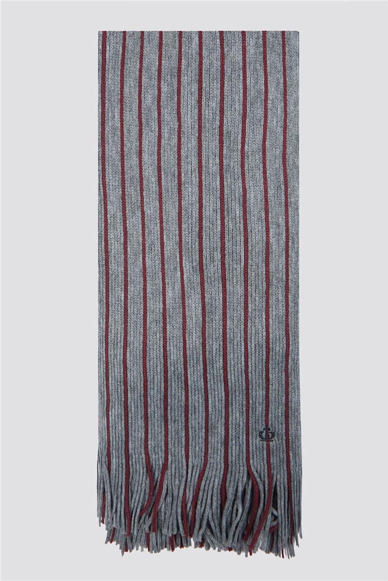 Grey Burgundy Block Stripe Scarf