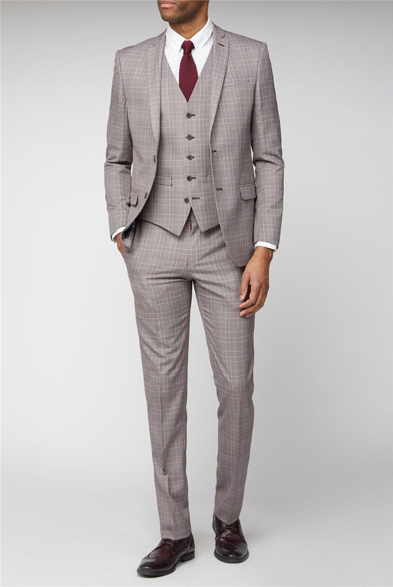 Pink Prince of Wales Check Slim Fit Suit