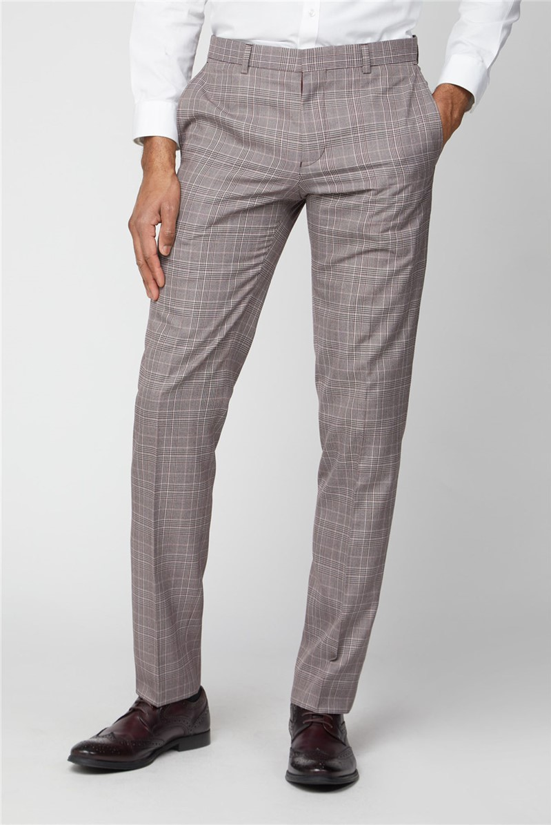 Pink Prince of Wales Check Slim Fit Trousers