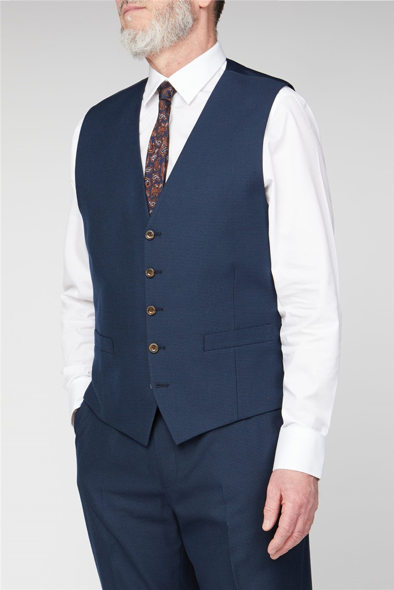 British Tailor Deep Blue Structure Big and Tall Suit Waistcoat