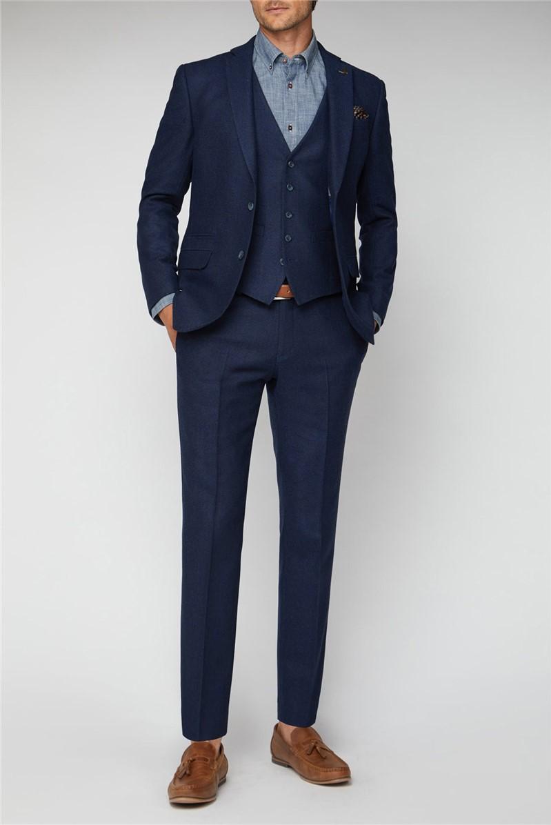 Blue Herringbone Tailored Fit Suit