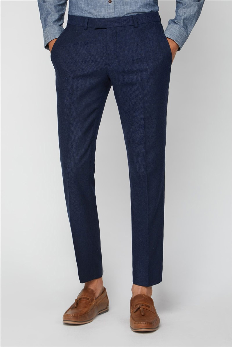 Blue Herringbone Tailored Fit Trousers