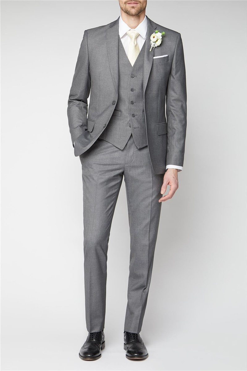 Occasions Grey Plain Tailored Fit Suit