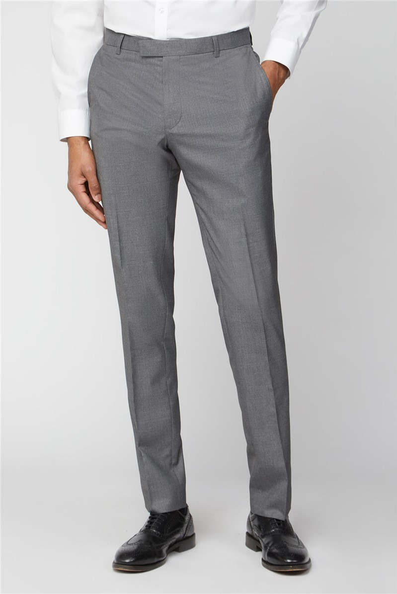 Occasions Occasions Grey Plain Slim Fit Suit Trouser