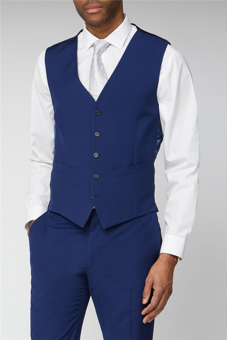 Occasions Blue Plain Regular Fit Waistcoat