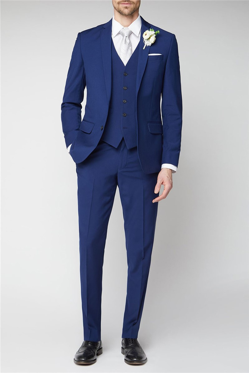 Occasions Blue Plain Tailored Fit Suit