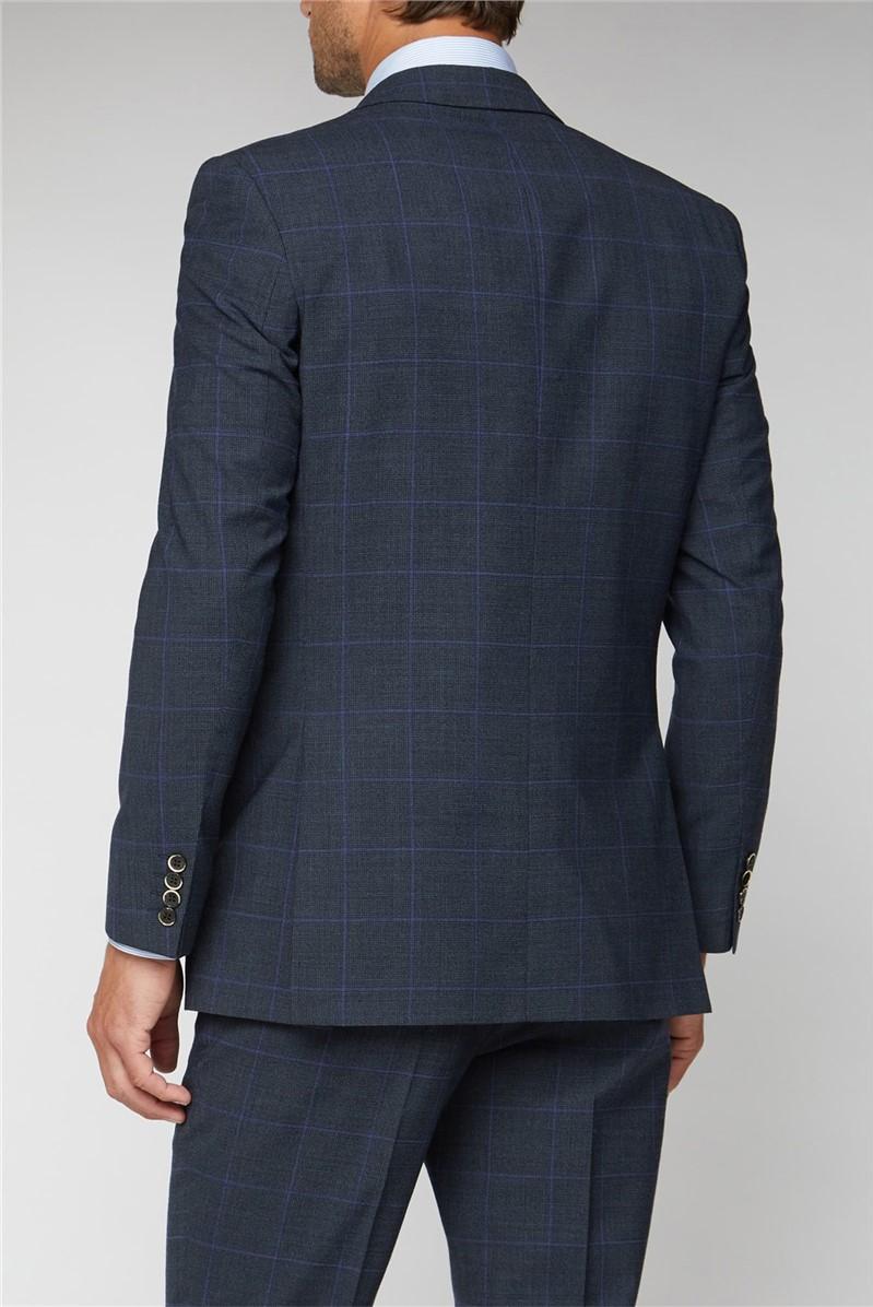 Electric Blue Check Regular Fit Suit Trouser