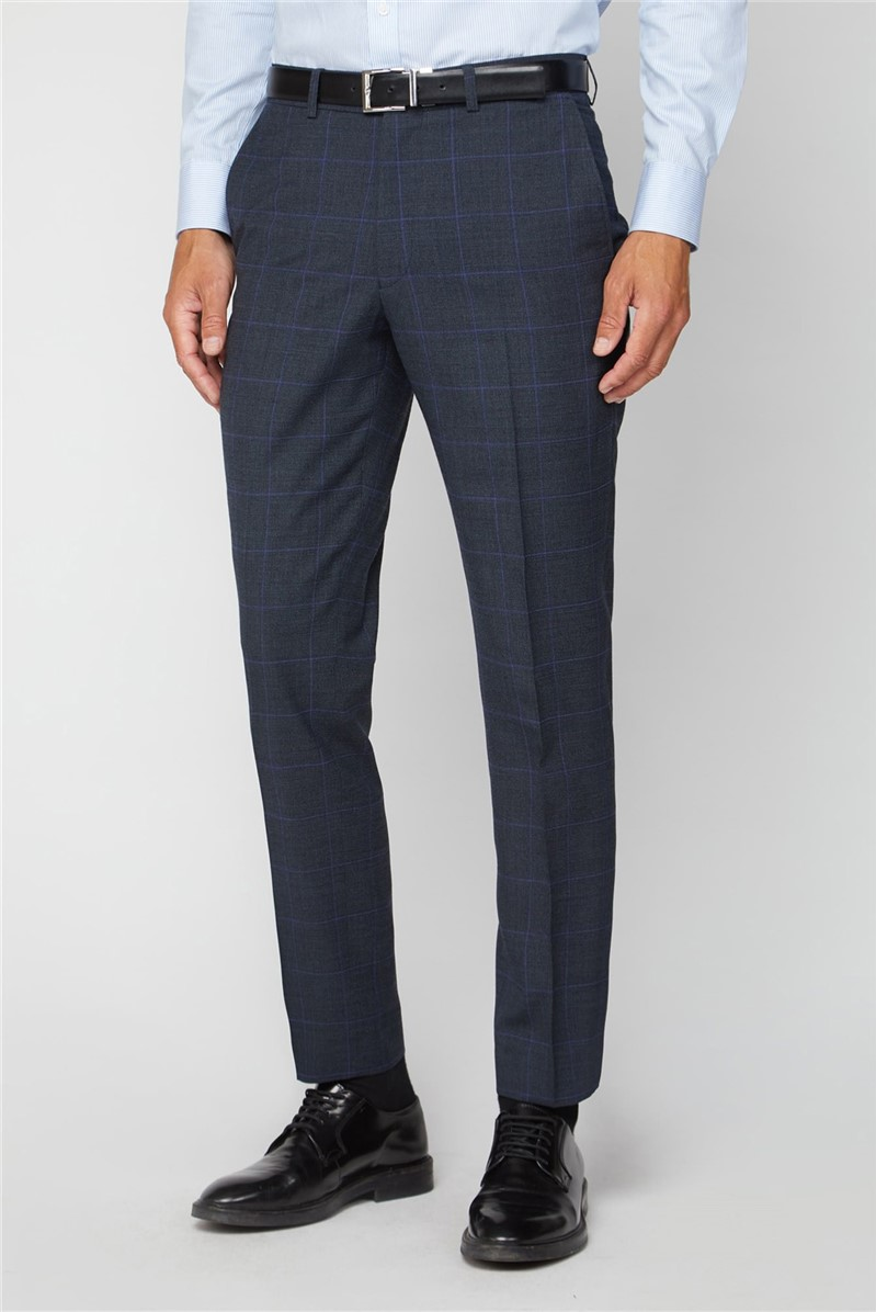 Electric Blue Check Regular Fit Suit Trouser