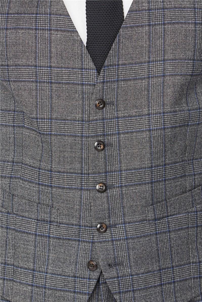 Grey Electric Blue Check Waistcoat