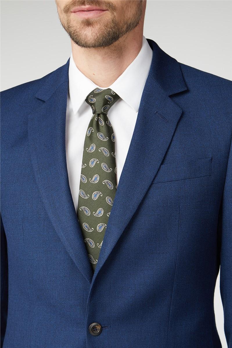 Branded Blue Hopsack Tailored Fit Suit