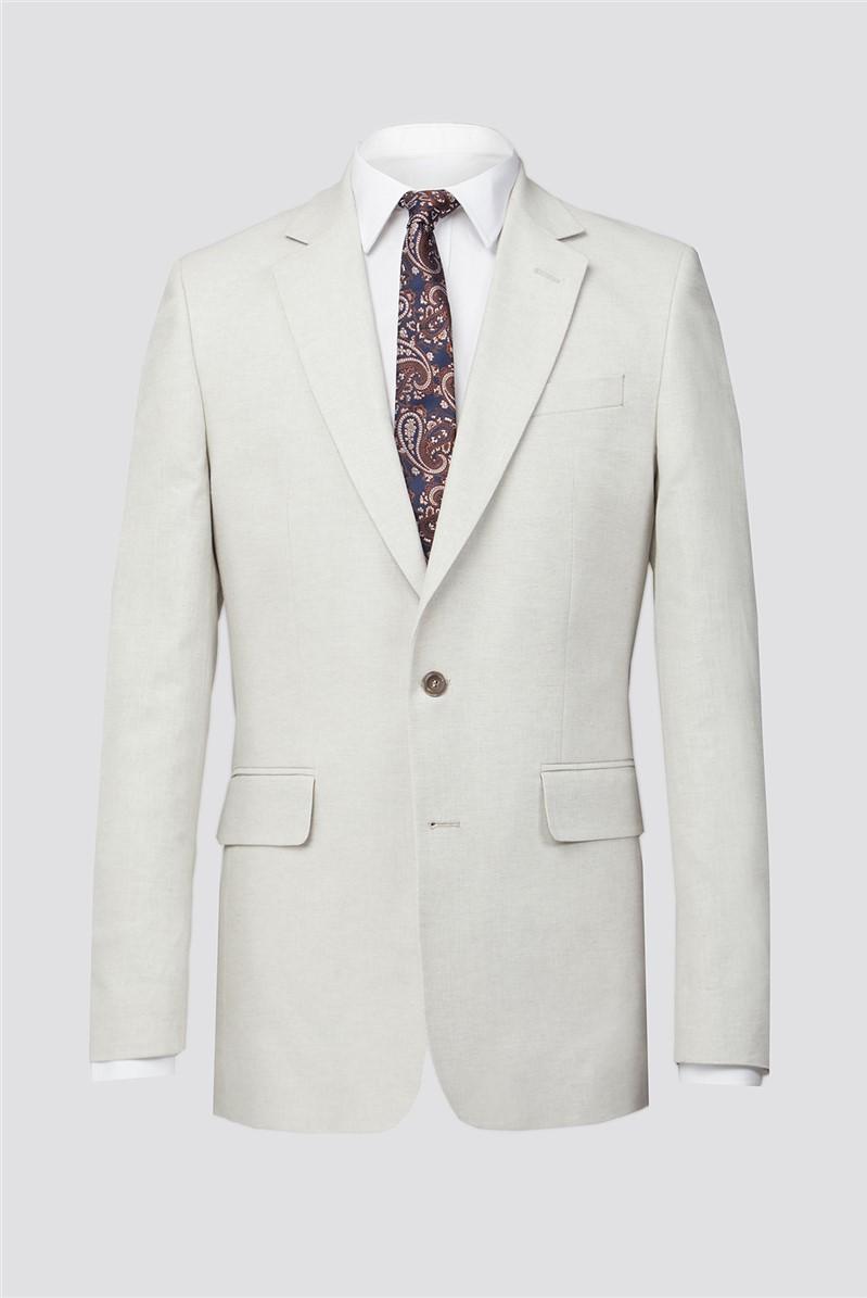 Putty Linen Herringbone Tailored Fit Suit