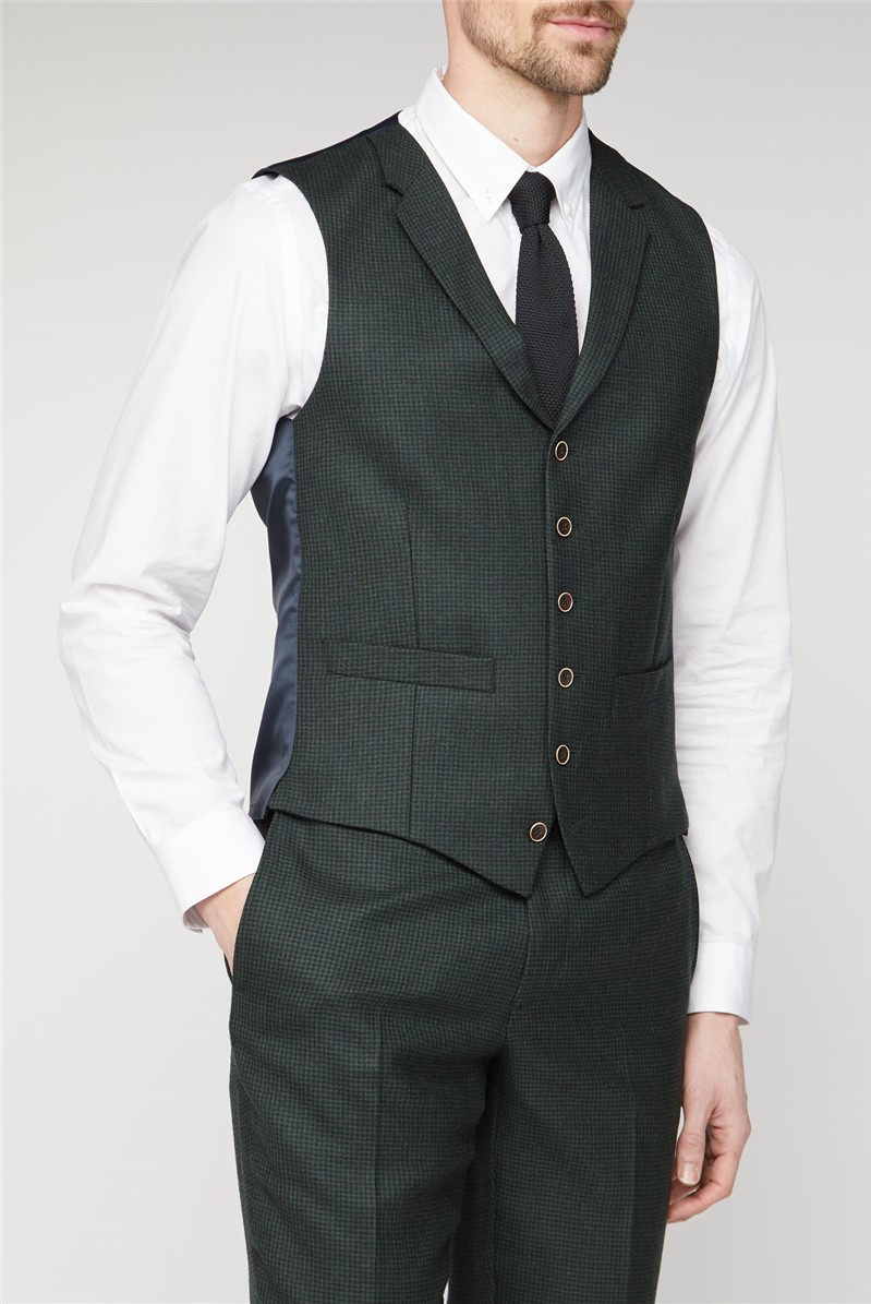 Branded Green Puppytooth Tailored Waistcoat