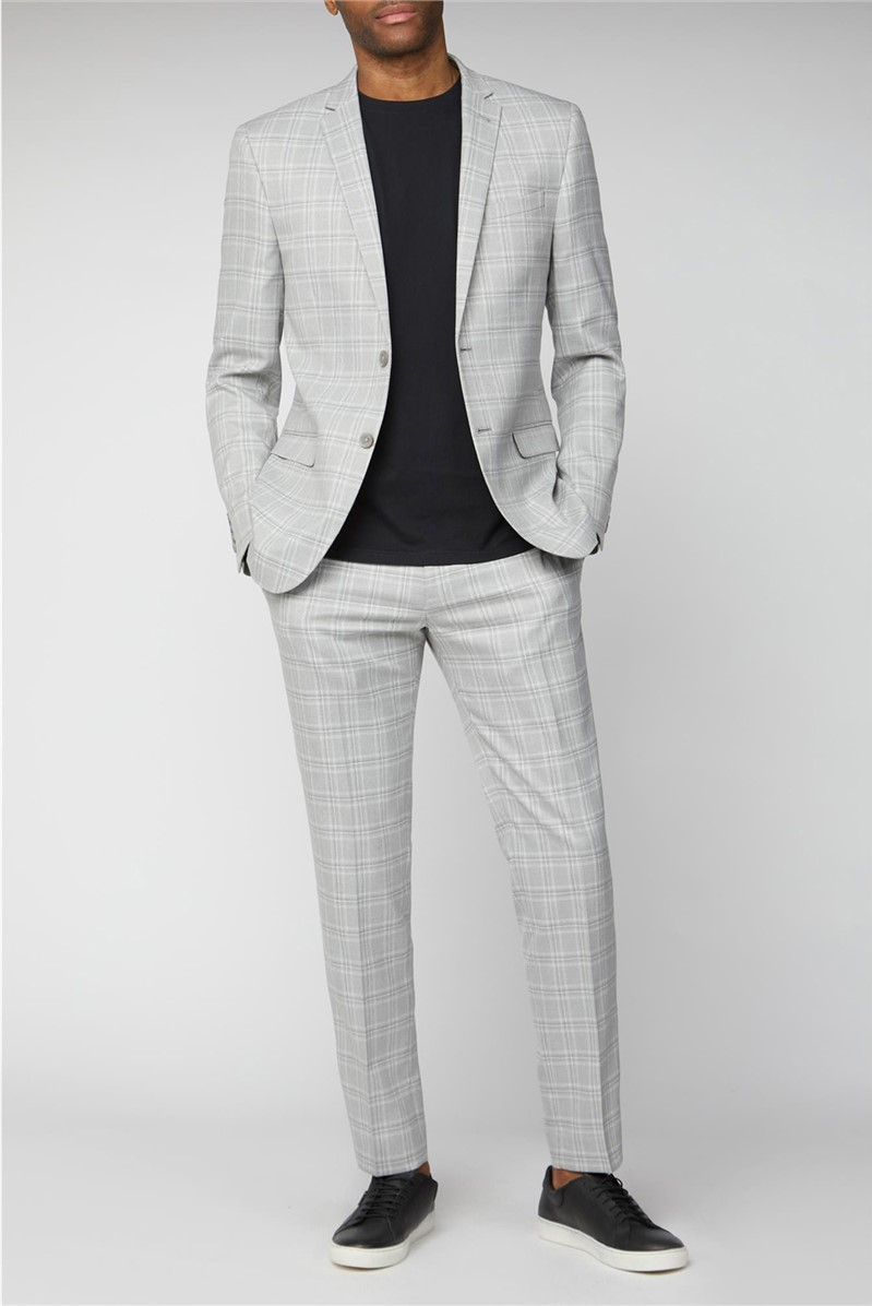 Grey Tonal Checked Slim Fit Suit