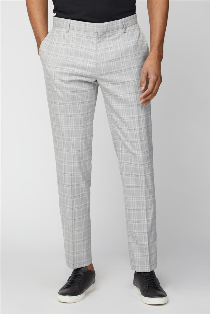 Grey Tonal Checked Slim Fit Trousers