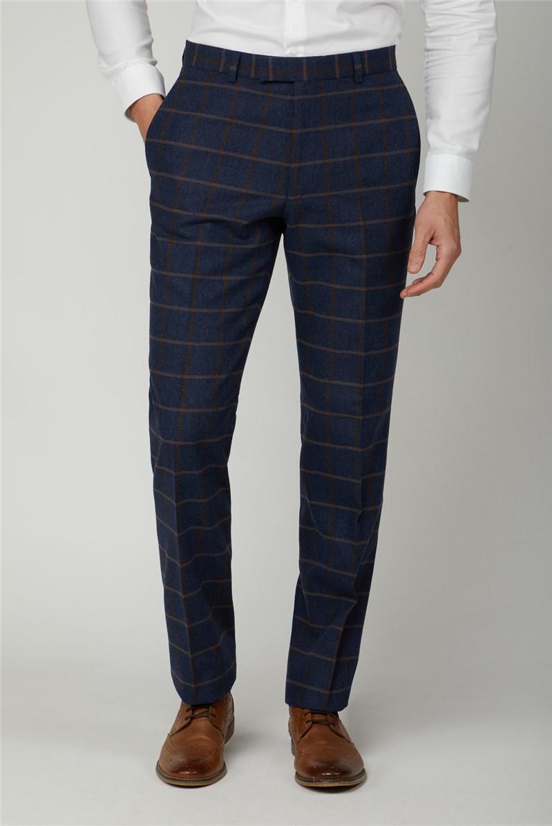 Blue Tan Check Tweed Regular Trousers