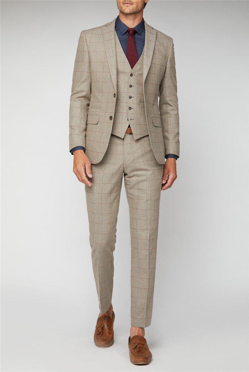 Oatmeal Herringbone Check Tweed Tailored Fit Suit