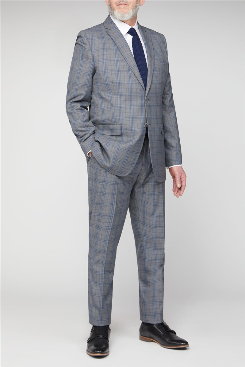 Grey Blue Check Big and Tall Suit