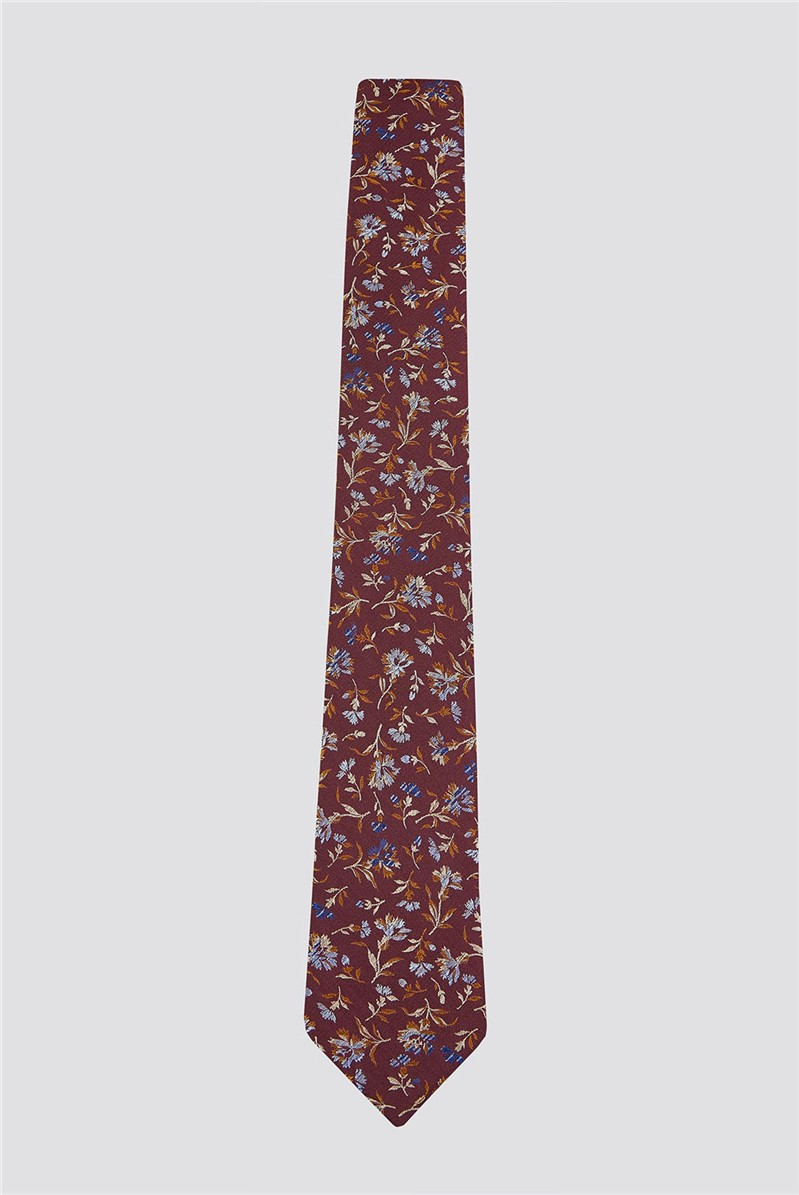 Burnt Orange Small Floral Tie