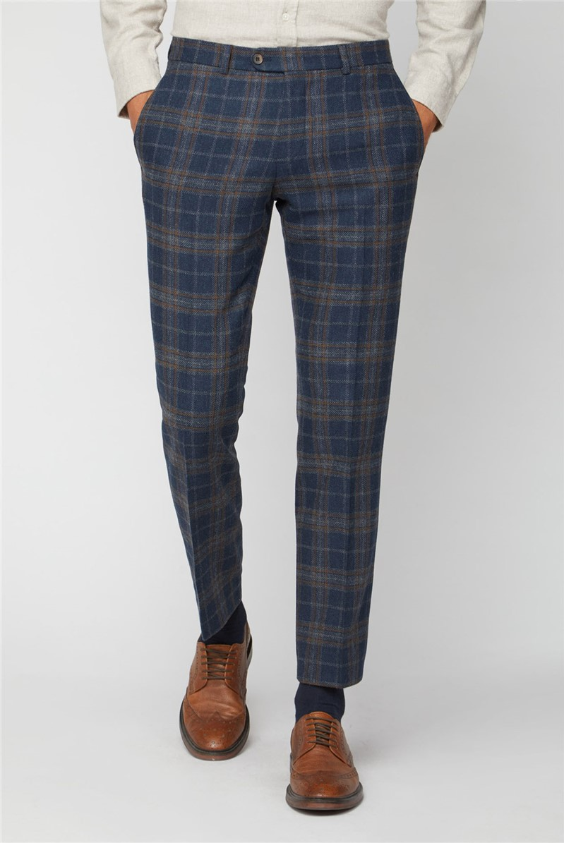 Navy Tan Check Tailored Fit Suit Trousers