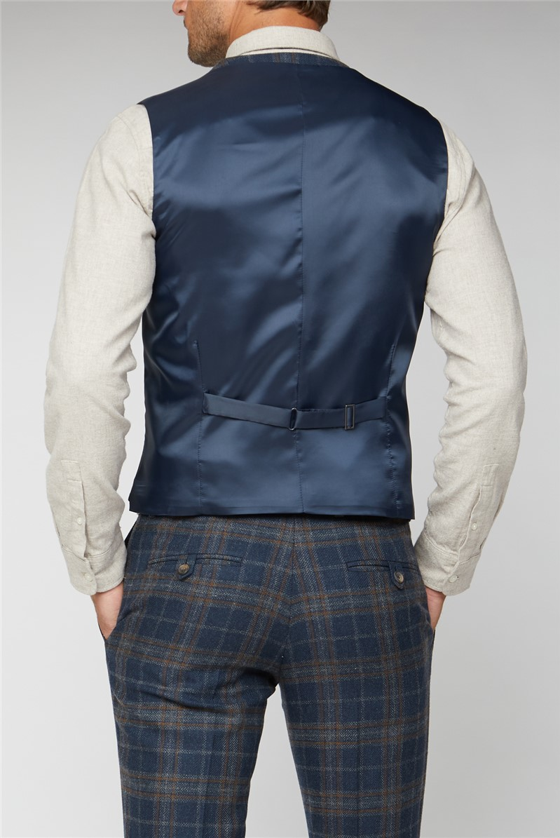 Navy Tan Check Tailored Fit Jacket