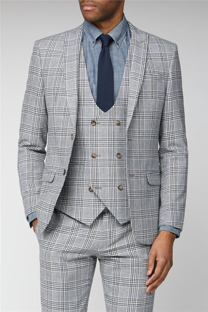 Blue Camel Checked Slim Fit Suit