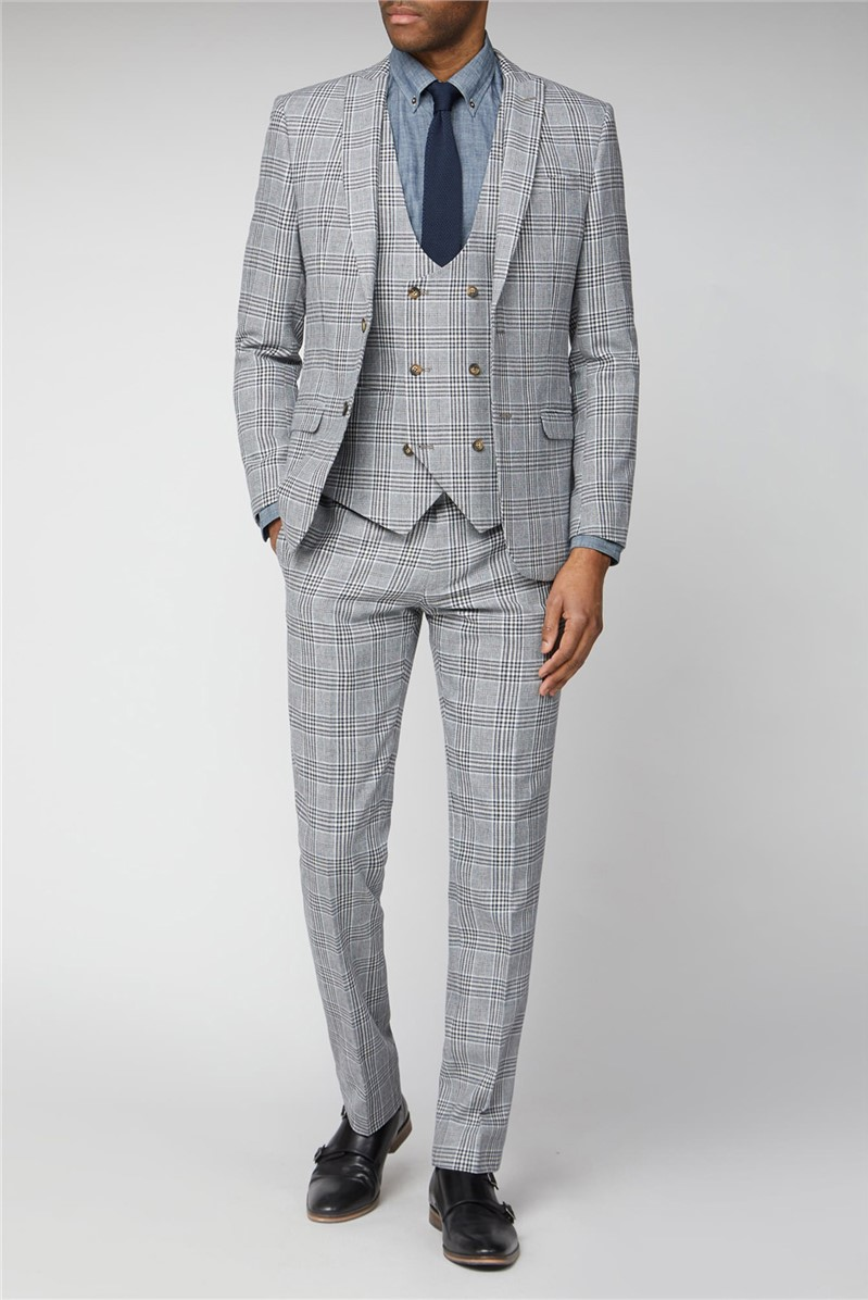 Blue Camel Checked Slim Fit Suit