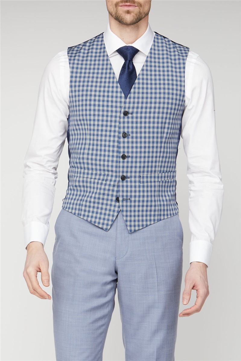 Occasions Blue Cream Gingham Waistcoat