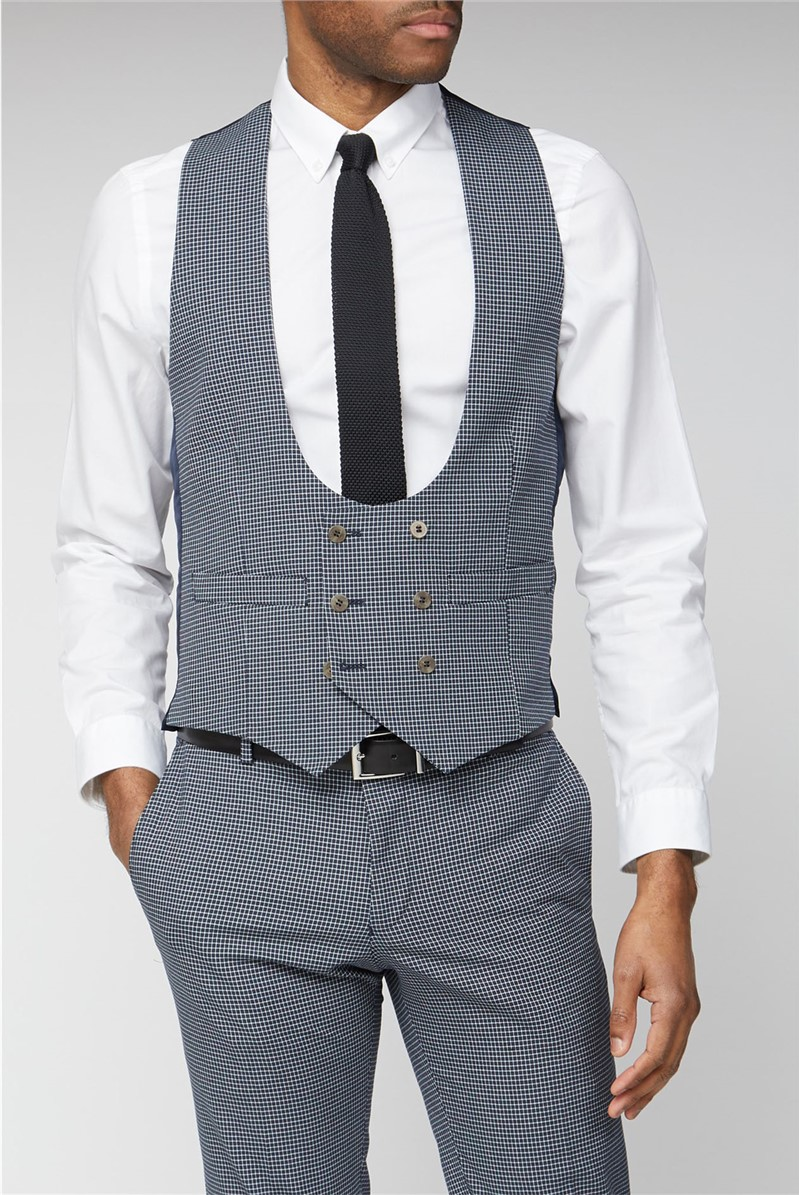 Navy Micro Check Double Breasted Waistcoat