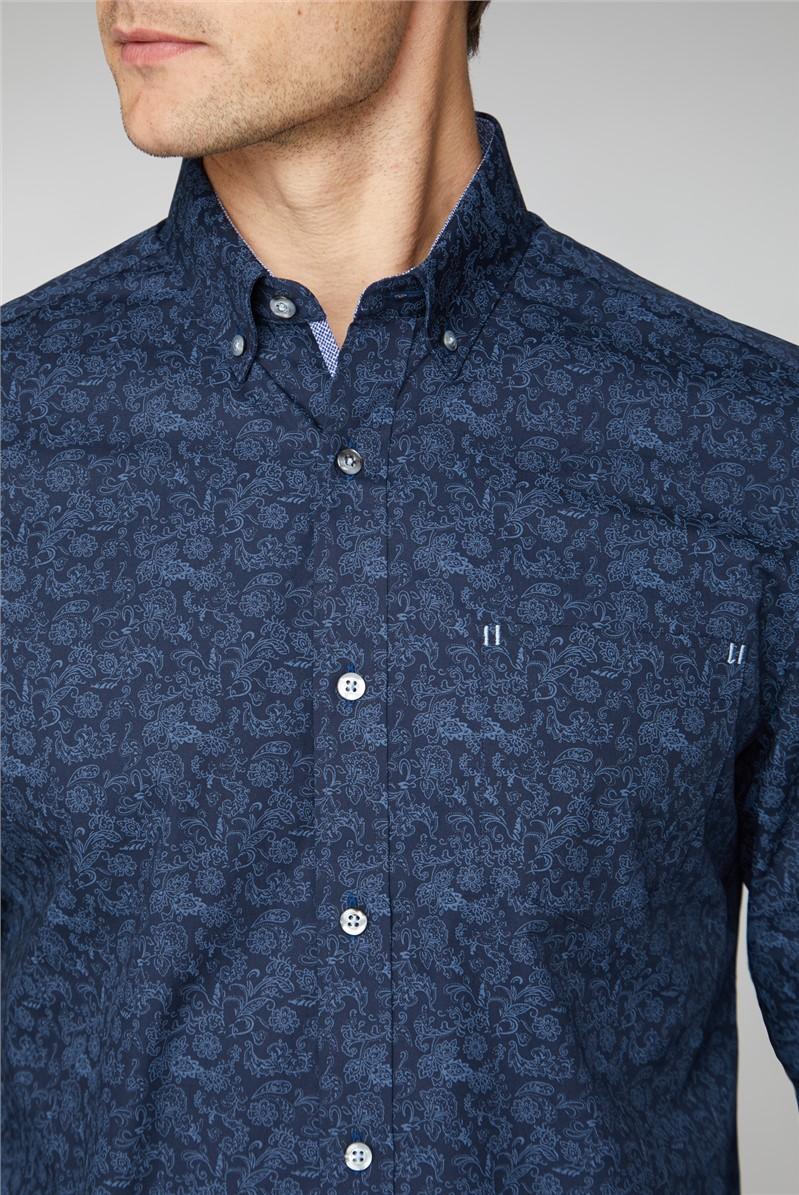 Casual Navy Tonal Floral Shirt