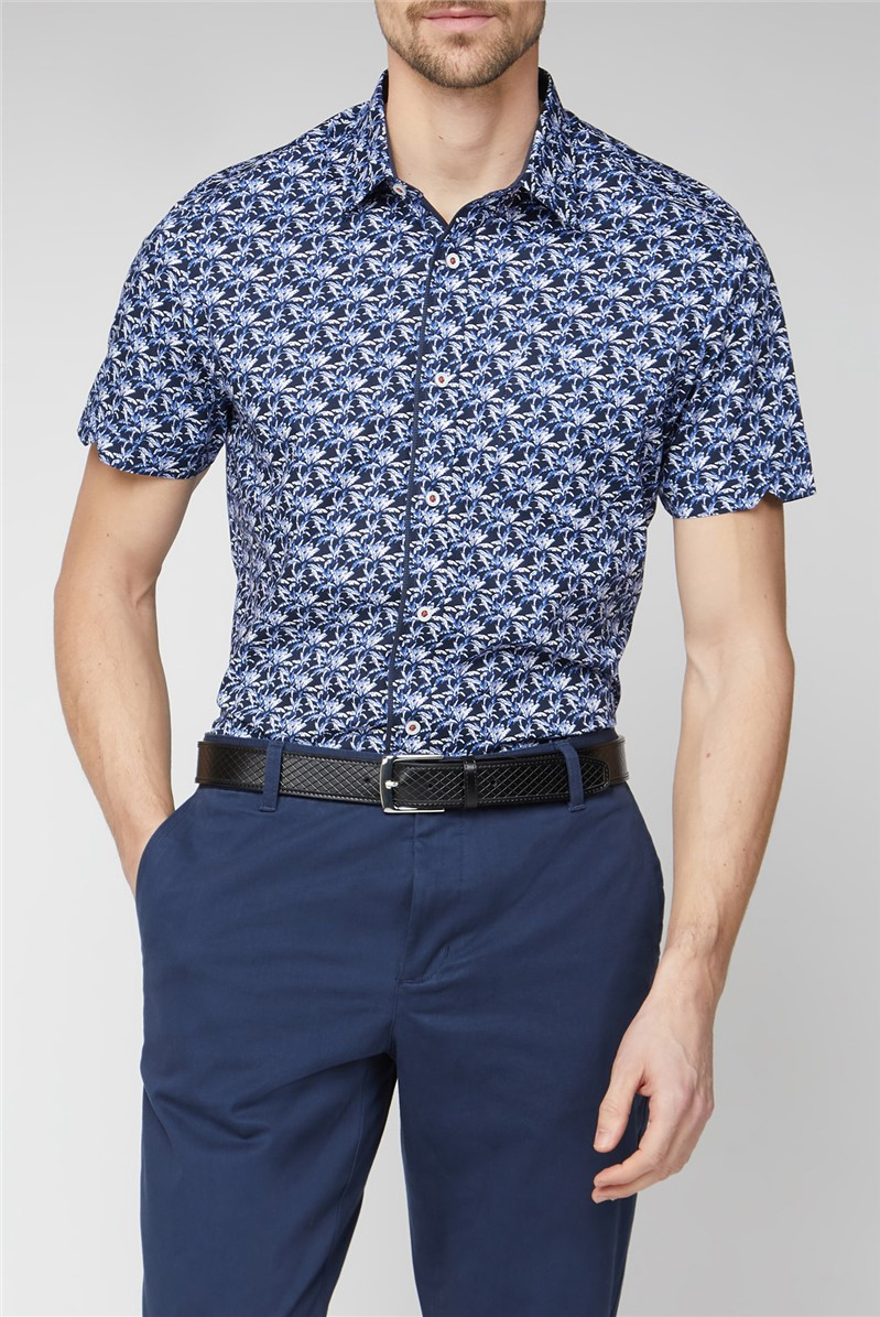 Casual Navy Palm Print Shirt