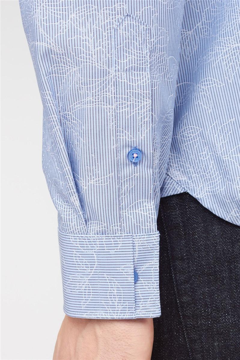 Casual Light Blue Stripe Floral Jacquard Shirt