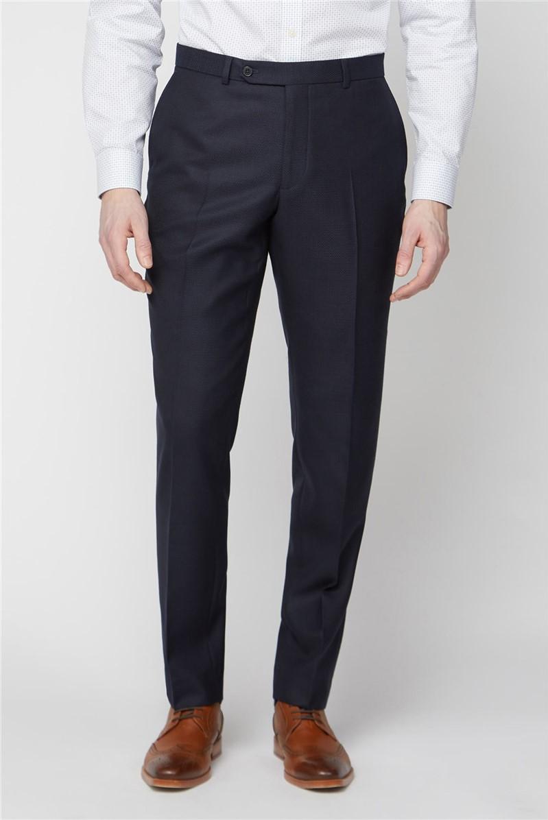 Navy Jacquard Texture Soho Regular Fit Trouser