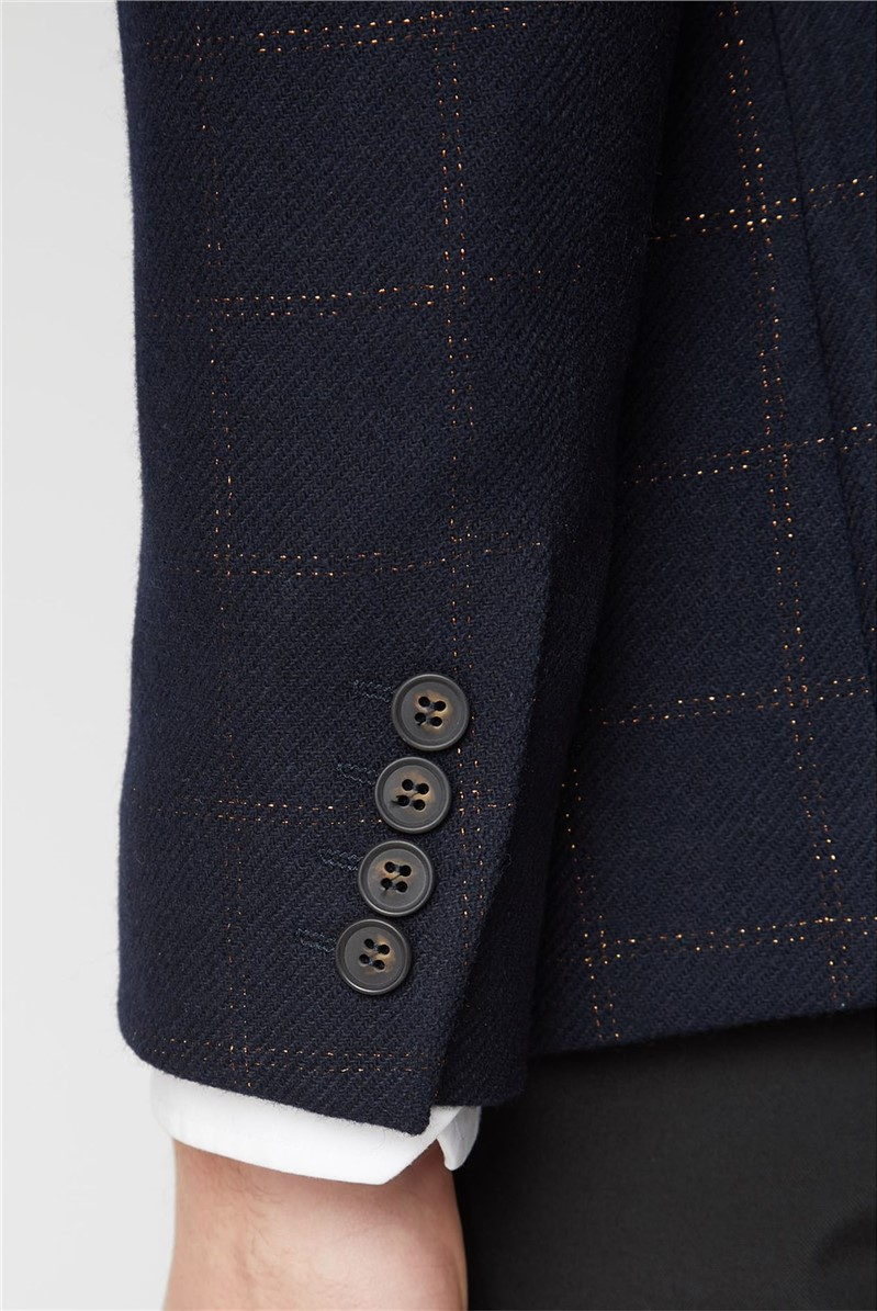 Navy Copper Metallic Check Blazer