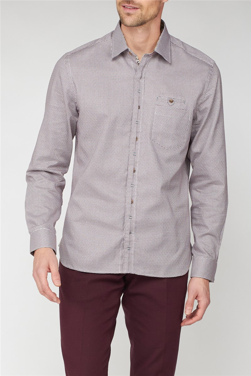 Casual Berry Weaves Check Shirt