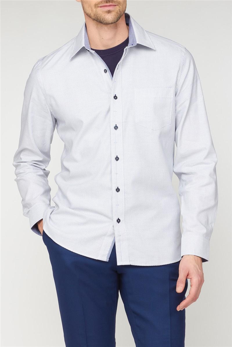 Stvdio Casual White Micro Dobby Shirt